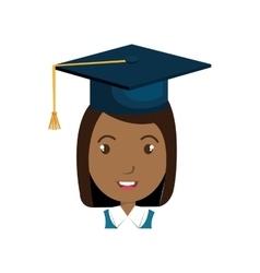 Avatar girl with graduation cap vector