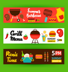 Barbecue horizontal banners vector