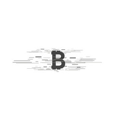 Bitcoin coin with fast speed motion lines vector