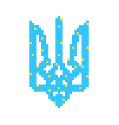 Blue and yellow pixel art ukrainian emblem vector
