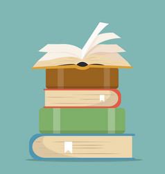 book stacks in flat design vector image