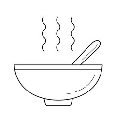 bowl of hot soup line icon vector image