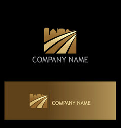 building cityscape abstract gold logo vector image