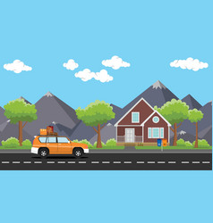 car move with a pack of lot goods on the road with vector image