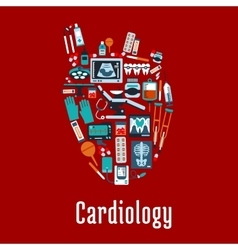 Cardiology symbol with flat silhouette of a heart vector