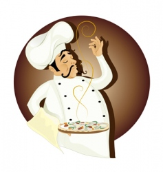 chef with pizza vector image