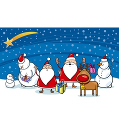 christmas cartoon characters vector image