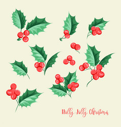 Christmas mistletoe holiday set happy new year vector