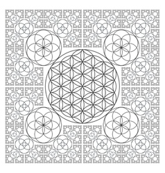 Circle outline flower of life fractal geometry vector