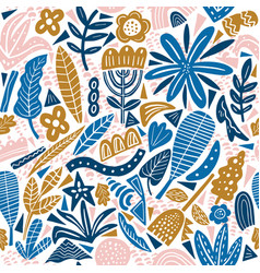 Collage style seamless repeat pattern with vector