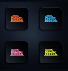 Color neon line coliseum in rome italy icon vector