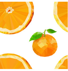 Colored low poly orange fruit seamless pattern vector