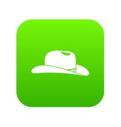 cowboy hat icon digital green vector image