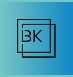 Creative initial letter bk square logo design vector