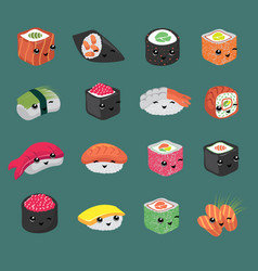 cute and fun japanese sushi cartoon vector image
