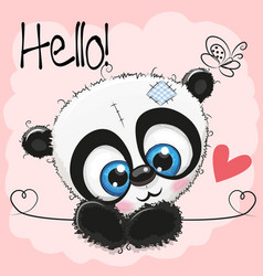 Cute panda on a pink background vector