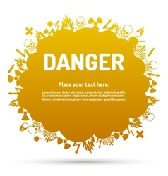 Danger sign set in cloud banner vector