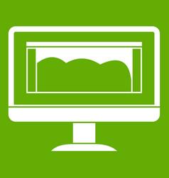 Drawing monitor icon green vector