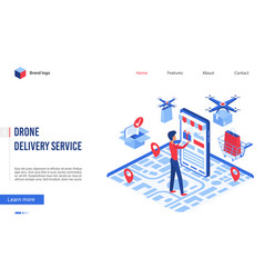 drone delivery cartoon vector image
