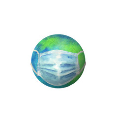 earth with protective face mask against vector image
