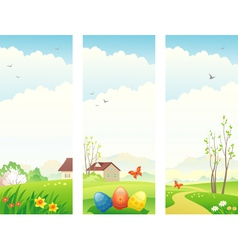 Easter and spring vertical banners vector