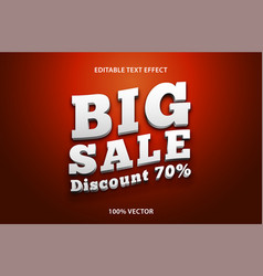 editable text big sale with 3d style effect vector image