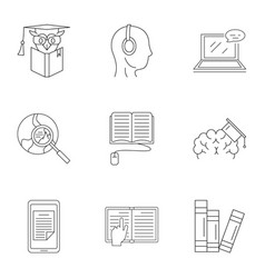Familiarization icons set outline style vector