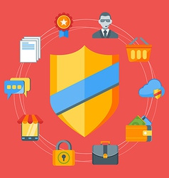 Flat design concept for internet security f vector image