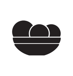Flat icon in black and white dish apples vector
