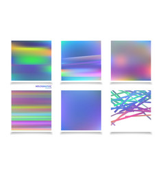 Fluid colors backgrounds set holographic effect vector
