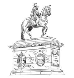frederik v on horseback statue copenhagen vector image