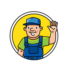 Funny plumber repairman or worker emblem or icon vector