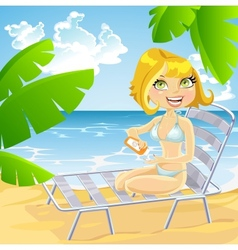 Girl on beach in a sun lounger using sunscreen vector image