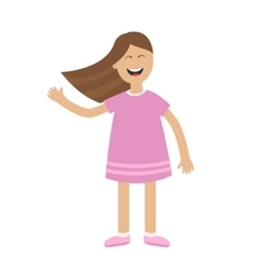 Girl waving hand Isolated Happy child Hair vector
