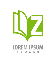 green book with letter z logo concept design vector image