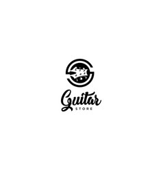 guitar store logo vector image