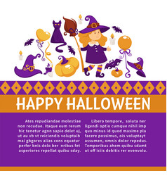 halloween banner with icons on halloween theme vector image