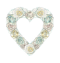 hand drawn white rose heart shape frame vector image