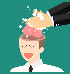 hand washing enemy businessman brain vector image