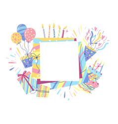 Happy birthday greeting card with frame vector