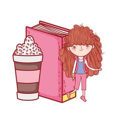 happy little girl reading book with milkshake vector image