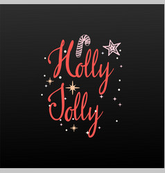 holly jolly festive banner on a white background vector image