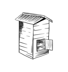 honey sketch bee hive with opened door vector image