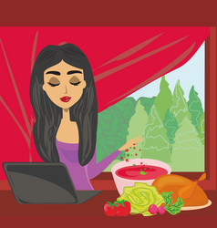 Housewife looking in laptop during cooking soup vector