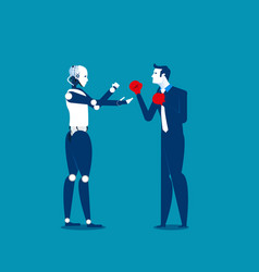 human and robot fighting concept business vector image