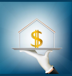 human hand holds a tray with a house and a dollar vector image