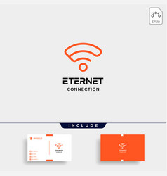Initial e internet logo design wifi network vector