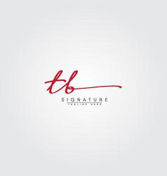 Initial letter tb logo - hand drawn signature logo vector
