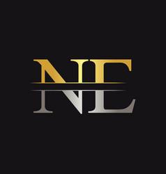 initial monogram letter ne logo design template vector image