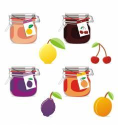 jam jars and fruits set vector image